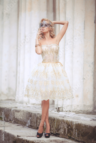 canvas print picture blonde sexy woman vogue style bride wedding fashion