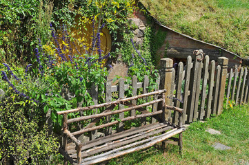Wooden chair at Hobbiton, Shire, New Zealand