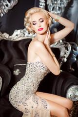 Vogue blonde sexy woman retro style