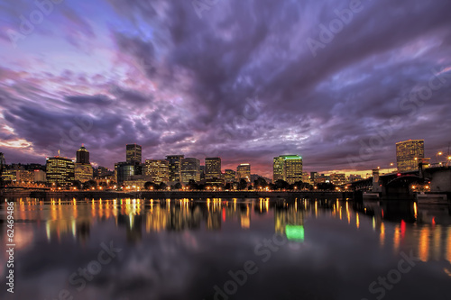 Portland Oregon Waterfront Skyline After Sunset © jpldesigns