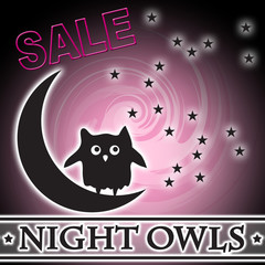 Night Owls Sale Moon Stars in Sky Logo