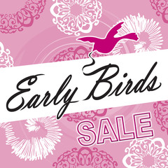 Early Bird Sale Logo Pink Ornate
