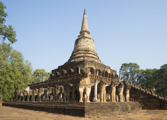 Stupa of Wat Chang Lom in a historic Park by Si Satchanalai