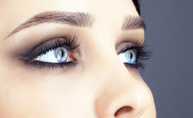 close-up shot of woman's eyes