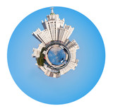 Moscow cityscape with Stalin high-rise building poster