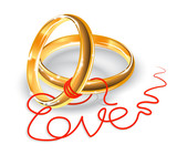 Cute Wedding Rings Vector