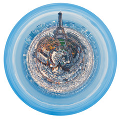 urban spherical skyline of Paris