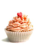 Pink creamed sweet cupcake