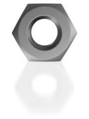 Nut on white background. Isolated 3D image