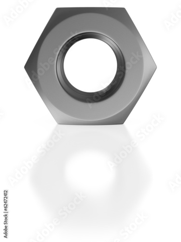 Nut on white background. Isolated 3D image