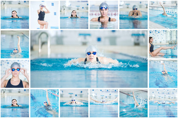 Collage of young sport woman swimming in the indoor pool