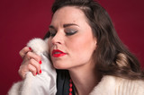 Pinup Girl in Fur Coat
