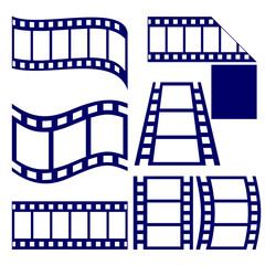 film strip icon set vector  illustration