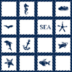 Navy blue rope on white seamless pattern with sea symbols