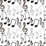Seamless pattern with music notes, treble clef