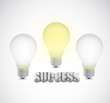 success text around light bulbs illustration