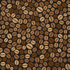 Coffee Beans Seamless Pattern on Dark Background