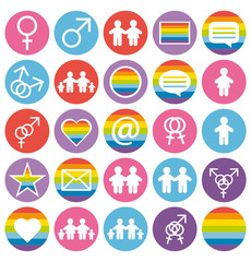Flat design. Love, family and gays icons set.