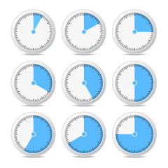 Timer Icons on White Background, Vector Illustration