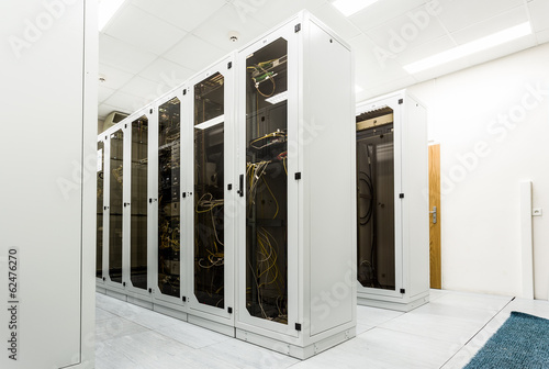Racks with network equipment