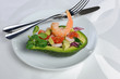 Appetizer of avocado with prawns