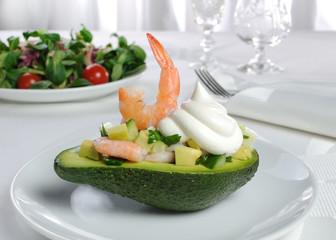 appetizer of avocado and shrimp
