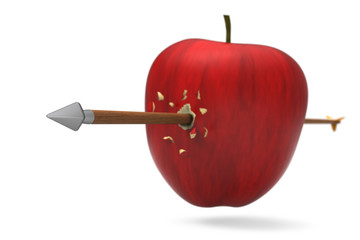 3D model of red apple was hit and perforated by arrow
