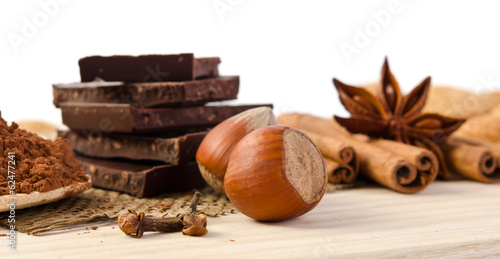 chocolate, spices and nuts - sweet food