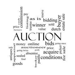 Auction Word Cloud Concept in black and white