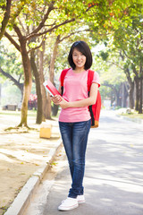 Student girl standing at campus