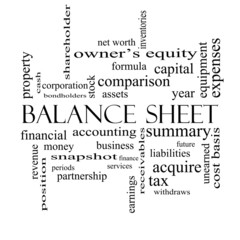 Balance Sheet Word Cloud Concept in black and white