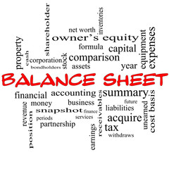 Balance Sheet Word Cloud Concept in red caps