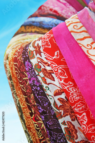 Different color and texture fabrics closeup