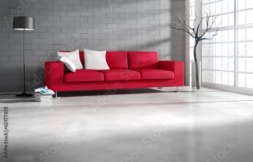 canvas print picture Rotes Sofa in Loftambiente