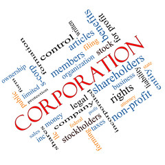 Corporation Word Cloud Concept Angled