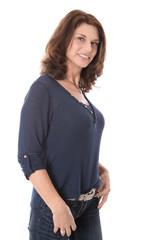 Portrait einer schönen lachenden reifen Frau mit 50