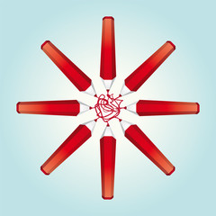 Star of red pencils