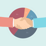 Market share agreement flat illustration