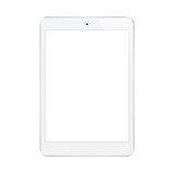 Tablet with blank screen isolated on white background