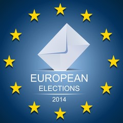 European elections on studed blue background