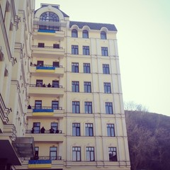 balcony with flags of Ukraine