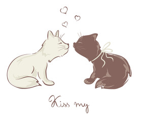 Funny kissing cats