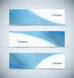 Three abstract blue business header banners vector
