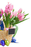 hyacinth and tulip flowers with easter eggs