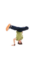 Hip hop dancer performing isolated over white