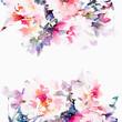 Leinwanddruck Bild - Floral watercolor background. Roses.