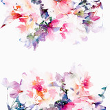 Photo: Floral watercolor background. Roses.