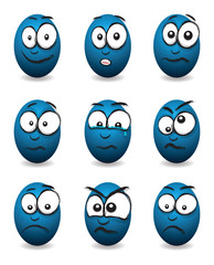 cartoon blue egg faces