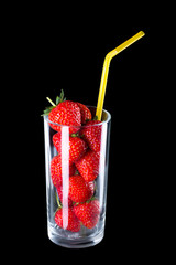 Fresh strawberries in a glass.