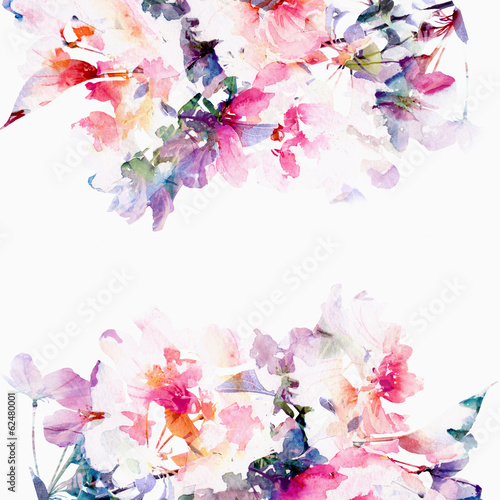 Floral watercolor background. Roses. - 62480001